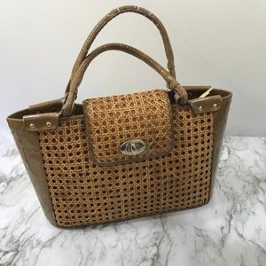 Stuart Weitzman Wicker and Leather Tote